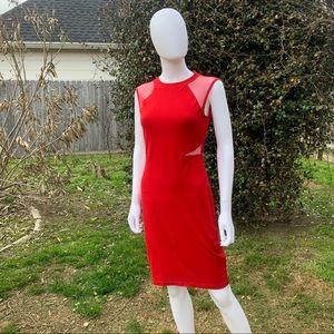 Blazer Red Mesh Panel Jewel Neck Jersey Knee Dress